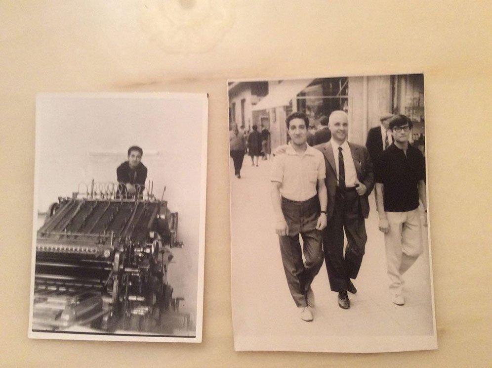 Una delle prime Nebiolo a nastro. A destra con il prof. Gigliotti – titolare della MIT Editrice – e l'amico Peppino lungo corso Mazzini a Cosenza